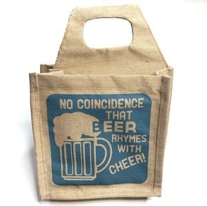 Other - 6 Pack Bottle Carrier Jute with Blue Printed Quote